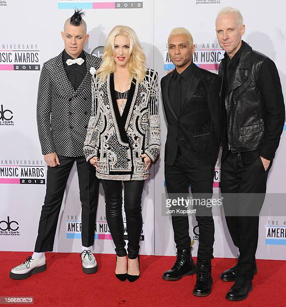 Adrian Young Gwen Stefani Tony Kanal and Tom Dumont of No Doubt arrive at The 40th American Music Awards at Nokia Theatre LA Live on November 18 2012...