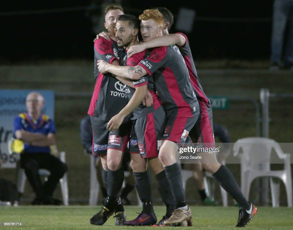 Adrian Zahra of Heidelberg United FC (center) celebrates his goal with team mates during the National Premier Leagues Grand Final match between the Brisbane Strikers and Heidelberg United FC at Perry Park on September 30, 2017 in Brisbane, Australia.