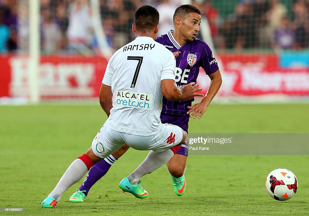 Adrian Zahra of the Glory and Iain Ramsay of the Heart contest for the ball during the round 14 A-League match between Perth Glory and the Melbourne Heart at nib Stadium on January 10, 2014 in Perth, Australia.