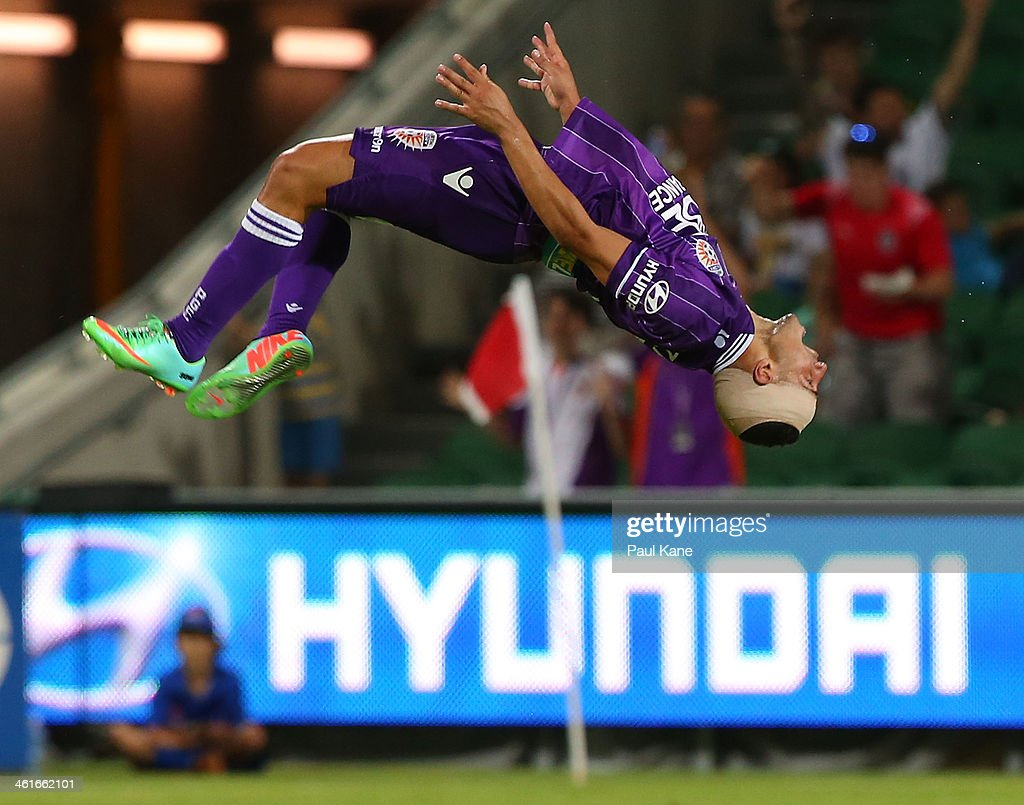 Adrian Zahra of the Glory celebrates scoring a goal during the round 14 A-League match between Perth Glory and the Melbourne Heart at nib Stadium on January 10, 2014 in Perth, Australia.