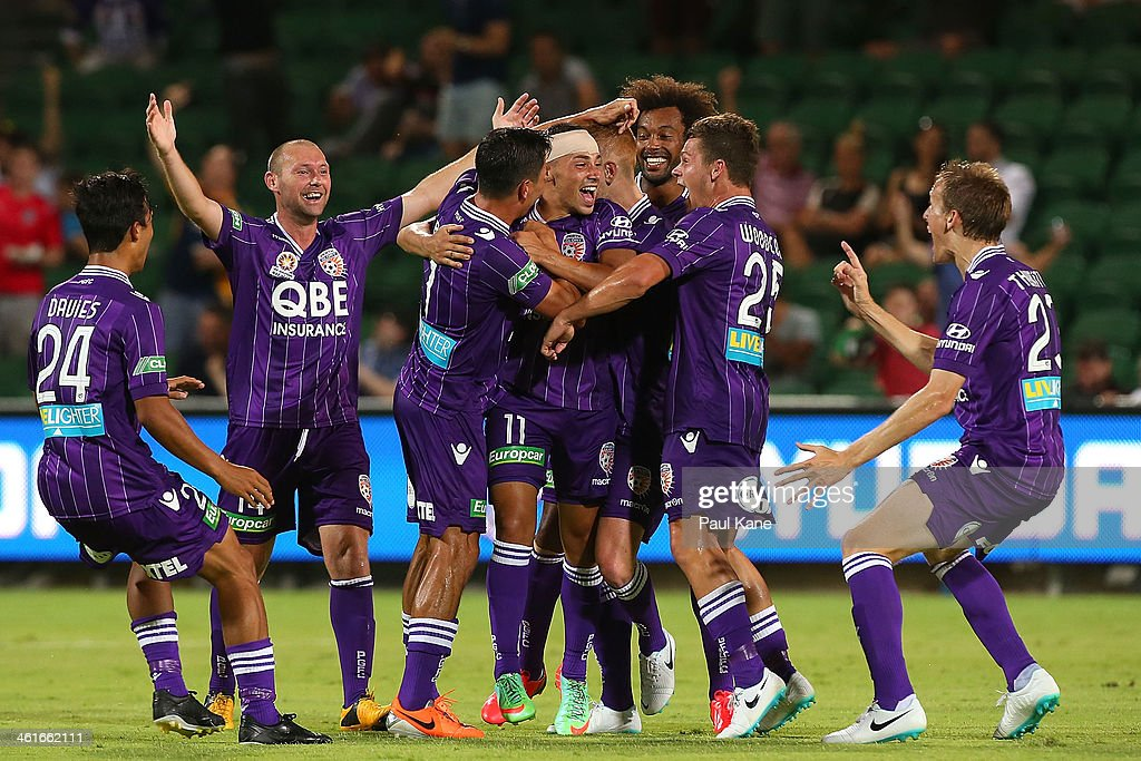 Adrian Zahra of the Glory celebrates with team mates after scoring a goal during the round 14 A-League match between Perth Glory and the Melbourne Heart at nib Stadium on January 10, 2014 in Perth, Australia.
