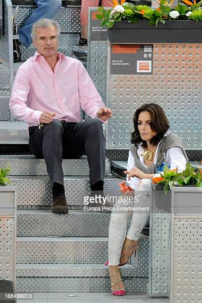 Adriana Abascal and Emmanuel attend the Mutua Madrid Open tennis tournament at La Caja Magica on May 9 2013 in Madrid Spain