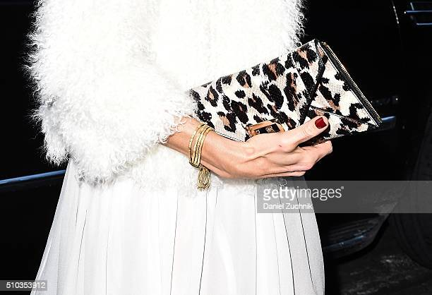 Adriana Abascal purse detail is seen outside the DVF show during New York Fashion Week Women's Fall/Winter 2016 on February 14 2016 in New York City