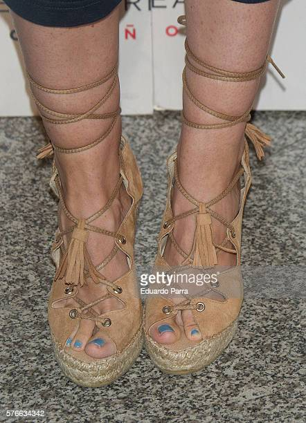 Adriana Abenia shoes detail attends the Rufus Wainwright concert photocall at Royal Theatre on July 16 2016 in Madrid Spain