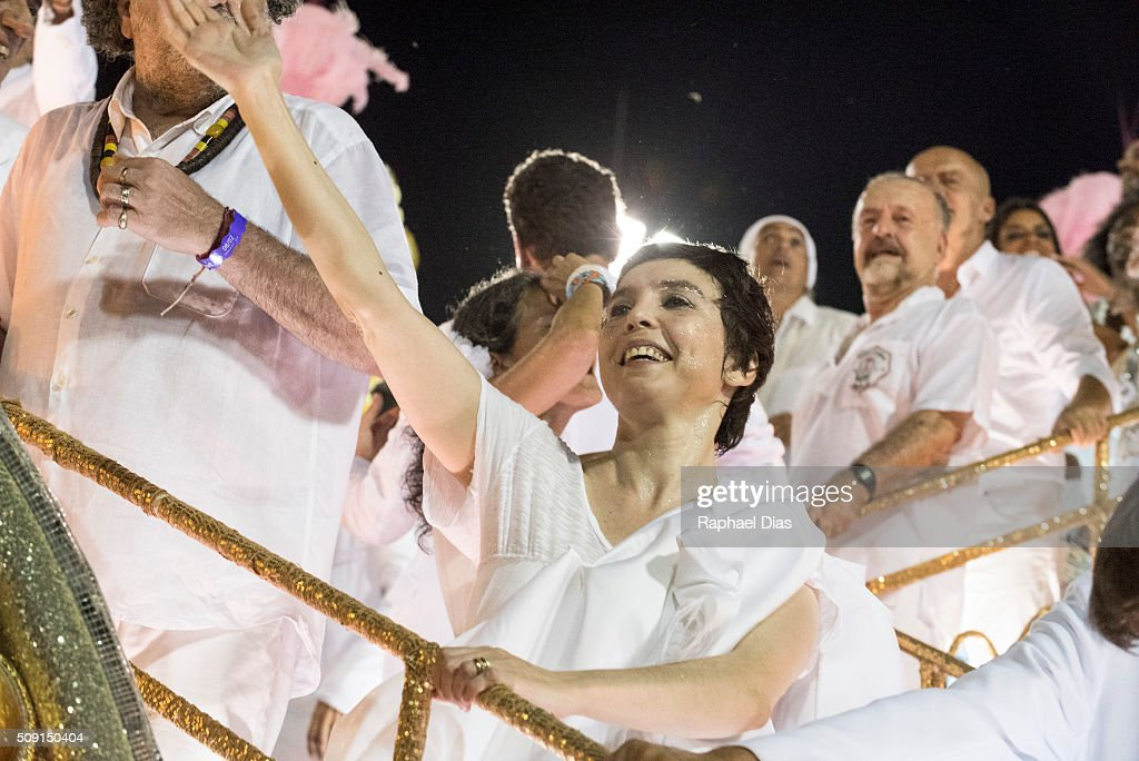 Adriana Calcanhoto attends to the Rio Carnival in Sambodromo on February 8, 2016 in Rio de Janeiro, Brazil. Despite the Zika virus epidemic, thousands of tourists gathered in Rio de Janeiro for the carnival.