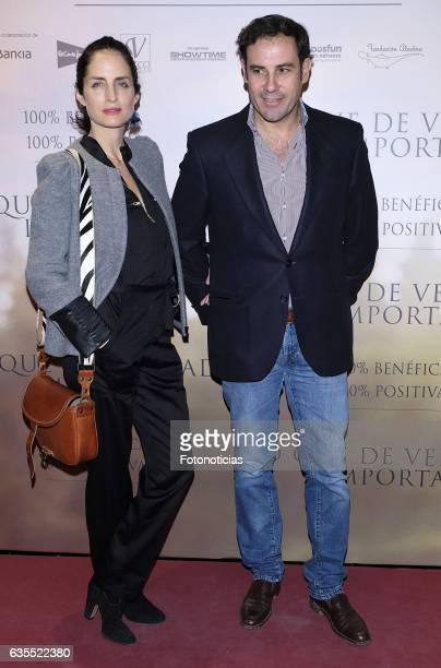 Adriana Carolina Herrera and Miguel Baez attend the 'Lo Que De Verdad Importa' premiere at the Hotel Vincci Capitol on February 15 2017 in Madrid...