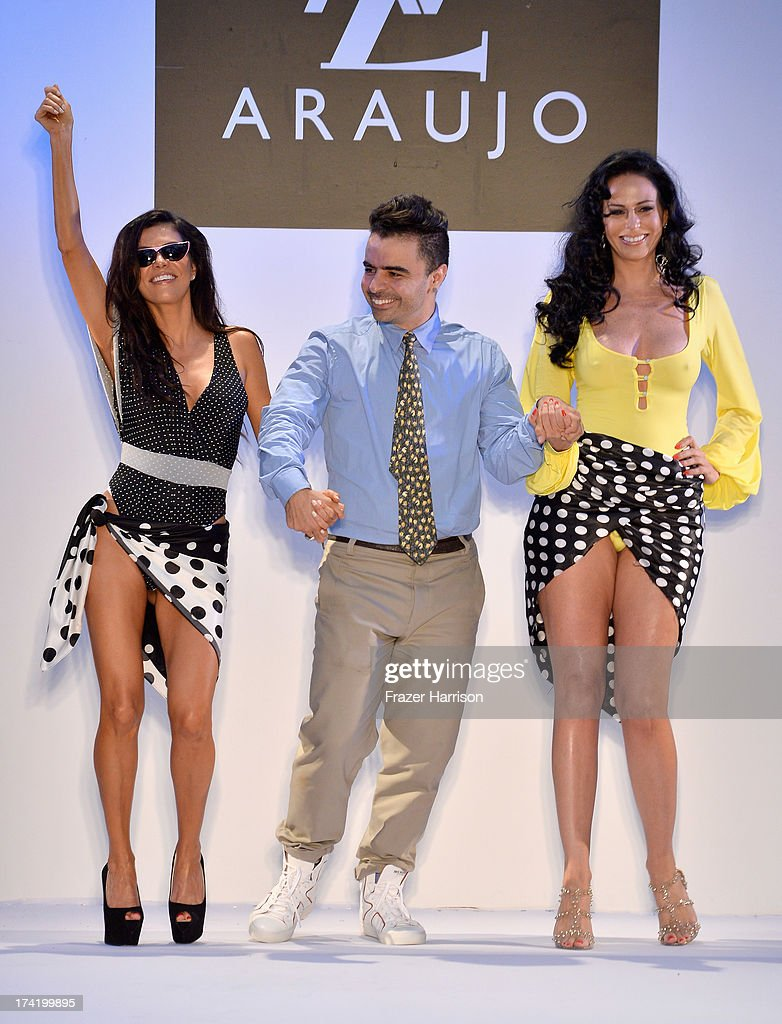 Adriana De Moura, A.Z. Araujo, and Cozete Gomes walk the runway at the A.Z. Araujo show during Mercedes-Benz Fashion Week Swim 2014 at Oasis at the Raleigh on July 21, 2013 in Miami, Florida.