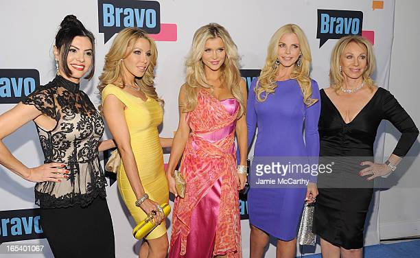 Adriana De Moura Lisa Hochstein Joanna Krupa Alexia Echevarria and Lea Black of 'The Real Housewives of Miami' attend the 2013 Bravo New York Upfront...