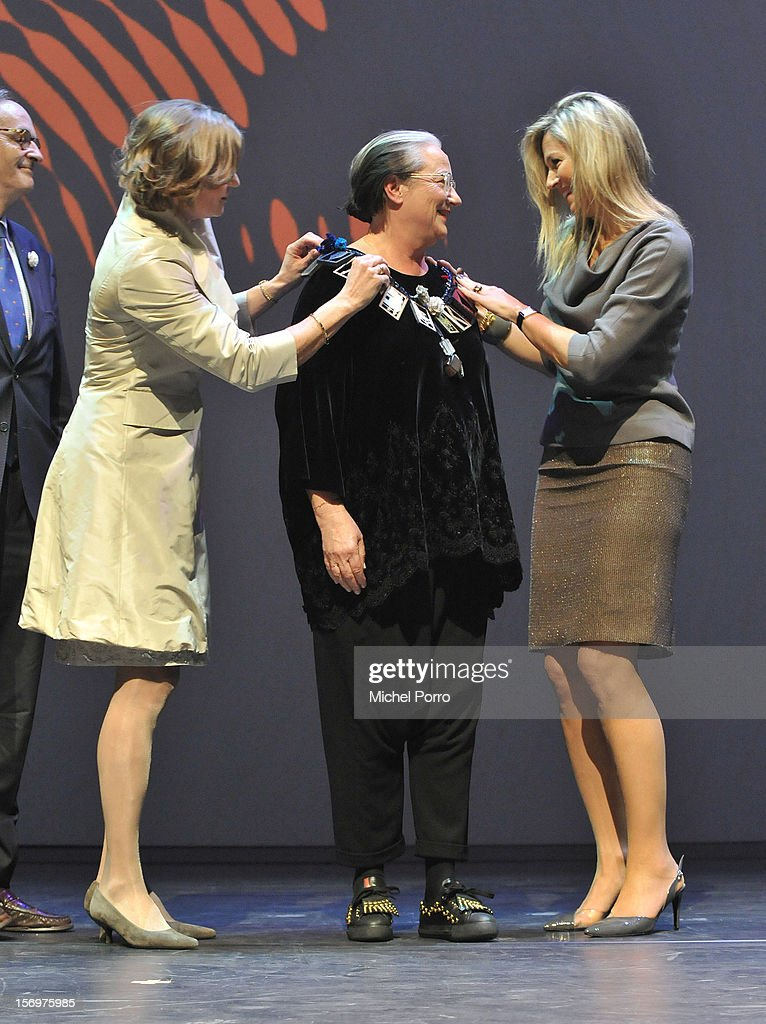 Adriana Esmeijer, Liedewei Edelkoort and Parincess Maxima of The Netherlands during the award ceremony the Prince Bernhard Culture Prize (pool) on November 26, 2012 in Amsterdam, Netherlands.