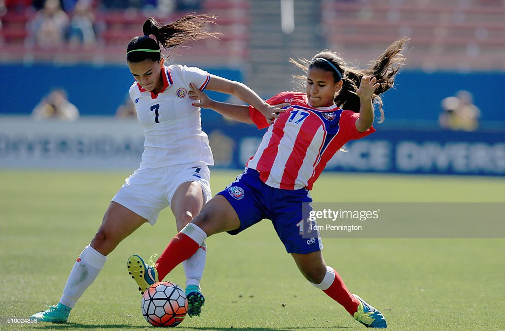 Adriana Font #17 of Puerto Rico controls the ball against Melissa Herrera #7 of Costa Rica in the first half during the Group A - 2016 CONCACAF Women's Olympic Qualifying at Toyota Stadium on February 13, 2016 in Frisco, Texas.
