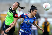 Adriana Jones of the Jets contests the header against Canberra defence during the round five WLeague match between the Newcastle Jets and Canberra...