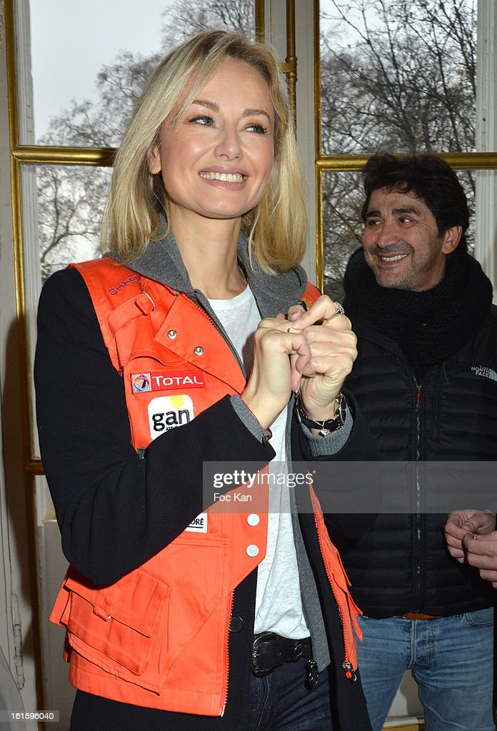 Adriana Karembeu and boyfriend Andre Ohanian attend the Rallye Aicha des Gazelles du Maroc' 2013 - Press Conference at Palais du Luxembourg on February 12, 2013 in Paris, France.