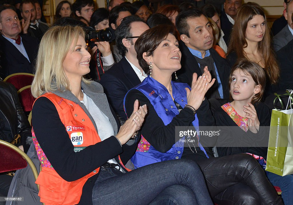 Adriana Karembeu and minister Chantal Jouanno attend the Rallye Aicha des Gazelles du Maroc' 2013 - Press Conference at Palais du Luxembourg on February 12, 2013 in Paris, France.