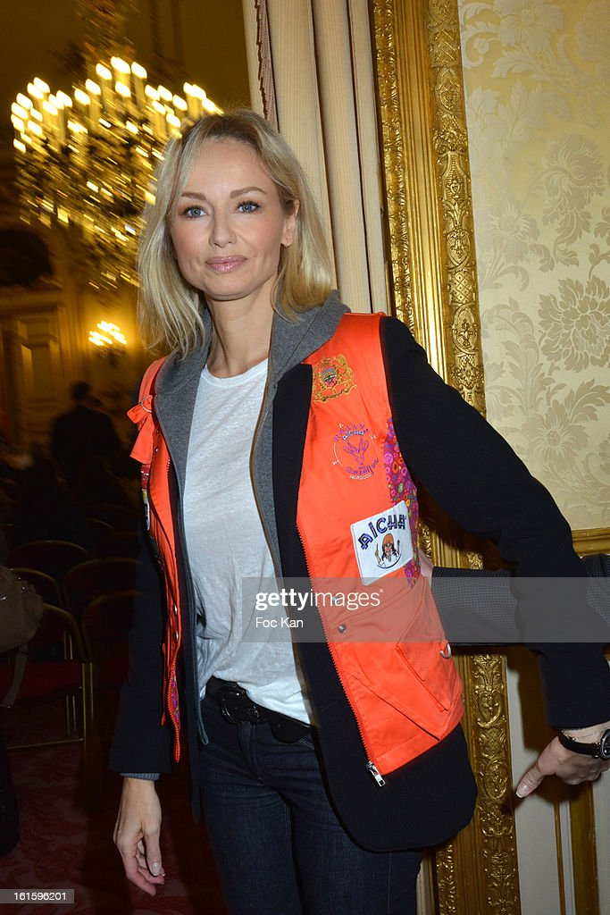 Adriana Karembeu attends the Rallye Aicha des Gazelles du Maroc' 2013 - Press Conference at Palais du Luxembourg on February 12, 2013 in Paris, France.