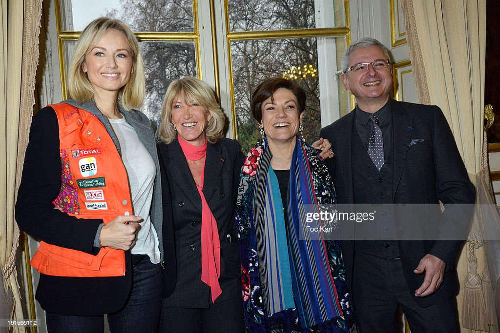 Adriana Karembeu, Dominique Serra from Aicha Gazelles, minister Chantal Jouanno and Philippe Peyrard from Atoll attend the Rallye Aicha des Gazelles du Maroc' 2013 - Press Conference at Palais du Luxembourg on February 12, 2013 in Paris, France.