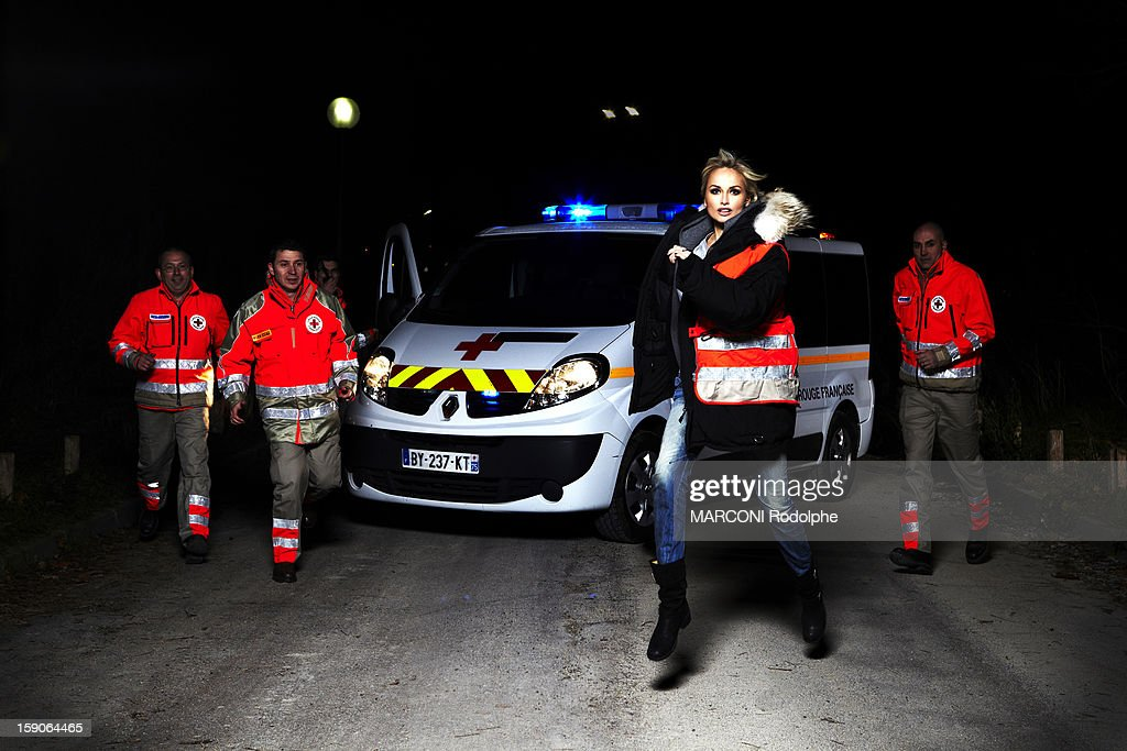 Adriana Karembeu helps the rescue team of the homeless on December 12, 2012 in France.