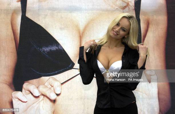 Adriana Karembeu in front of the new campaign poster for the new Variable Cleavage Wonderbra in Bethnal Green London The cleavage depth can be...