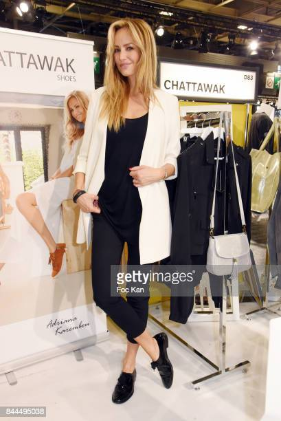 Adriana Karembeu poses at Chattawak booth during Who's Next Opening at Parc des Expositions Porte de Versailles r on September 8 2017 in Paris France