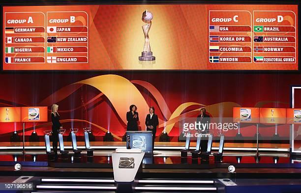 Adriana Karembeu Steffi Jones head of the Local Organising Committee Tatjana Haenni head of FIFA Women's Competitions and Guenter Netzer stand on the...