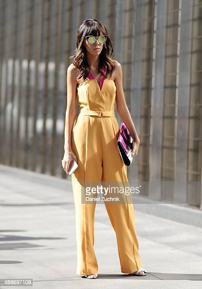 Adriana Kubieniec is seen outside the DKNY show during New York Fashion Show 2016 on September 16 2015 in New York City