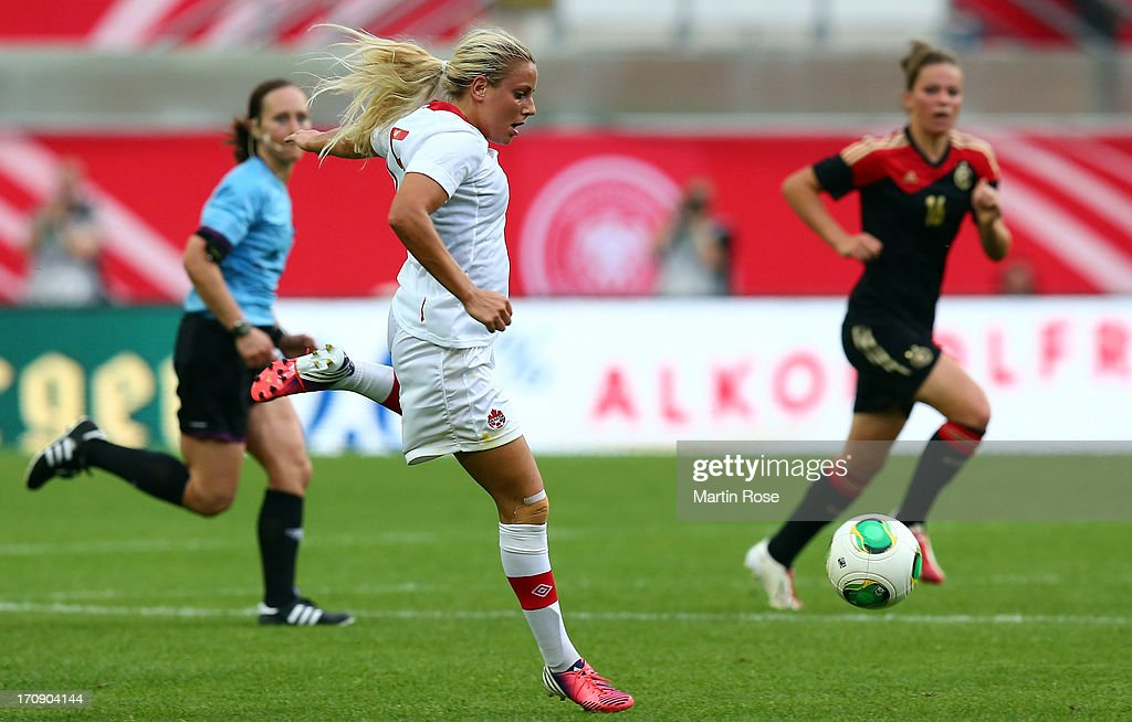 Adriana Leon of Canada runs with the ball during the Women's International Friendly match between Germany and Canada at Benteler Arena on June 19, 2013 in Paderborn, Germany.