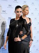 Adriana Lima and Karolina Kurkova attend the IWC Gala Dinner during the Salon International de la Haute Horlogerie 2015 at the Palexpo on January 20...