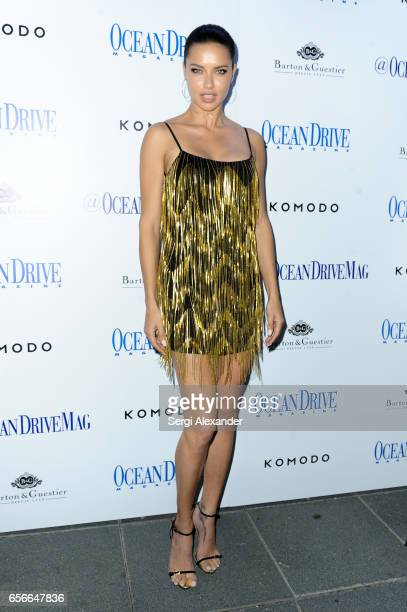 Adriana Lima arrives at Ocean Drive Magazine's celebration of its March issue with cover star Adriana Lima at Komodo on March 22 2017 in Miami Florida