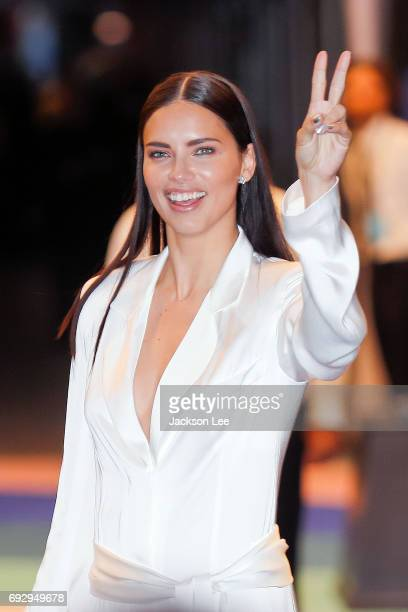 Adriana Lima at the outside arrivals for the 2017 CFDA awards at Hammerstein Ballroom on June 5 2017 in New York City