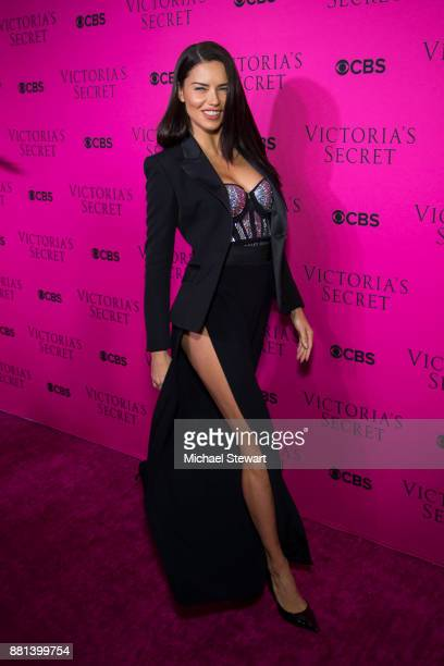 Adriana Lima attends the 2017 Victoria's Secret Fashion Show viewing party pink carpet at Spring Studios on November 28 2017 in New York City