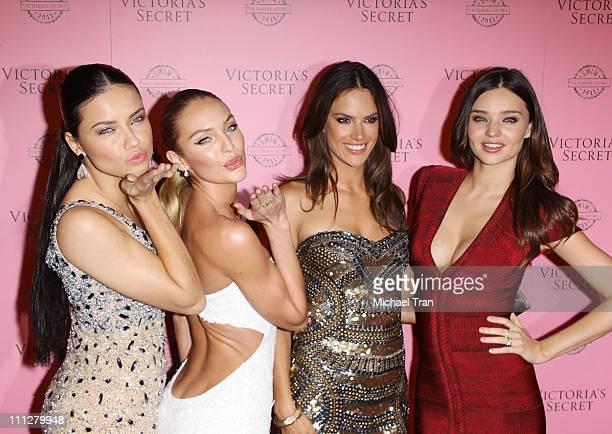 Adriana Lima Candice Swanepoel Alessandra Ambrosio and Miranda Kerr arrive at Victoria's Secret celebrates 2011 swim season held at Club L on March...