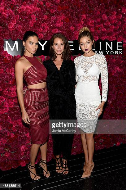 Adriana Lima Christy Turlington and Gigi Hadid attend Maybelline New York Celebrates New York Fashion Week at Sixty Five on September 13 2015 in New...