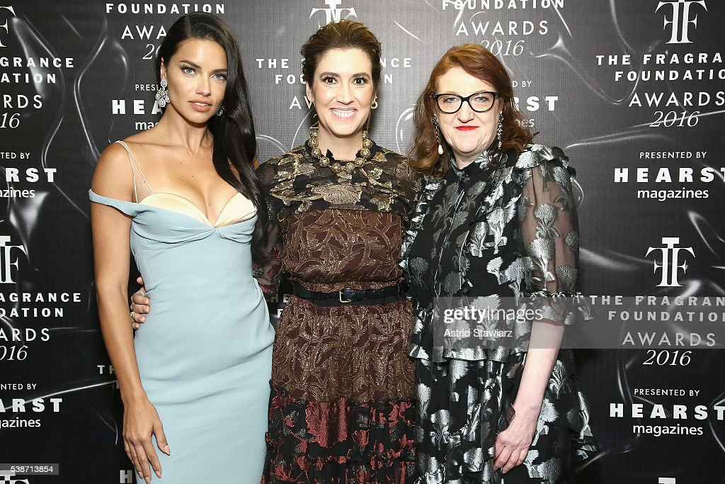 Adriana Lima Elizabeth Musmanno and Glenda Bailey pose backstage at the 2016 Fragrance Foundation Awards presented by Hearst Magazines Show on June 7...