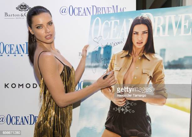Adriana Lima is seen arriving at the Ocean Drive Magazine March issue cover party at KOMODO Restaurant and Lounge on March 22 2017 in Miami Florida
