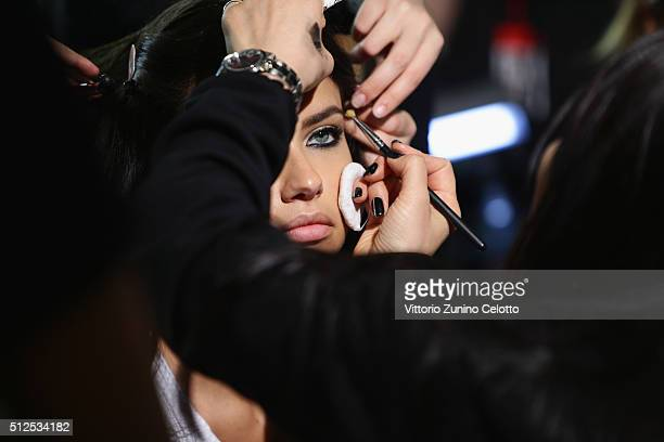 Adriana Lima is seen backstage ahead of the Versace show during Milan Fashion Week Fall/Winter 2016/17 on February 26 2016 in Milan Italy