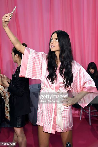 Adriana Lima is seen backstage before the 2015 Victoria's Secret Fashion Show at Lexington Avenue Armory on November 10 2015 in New York City