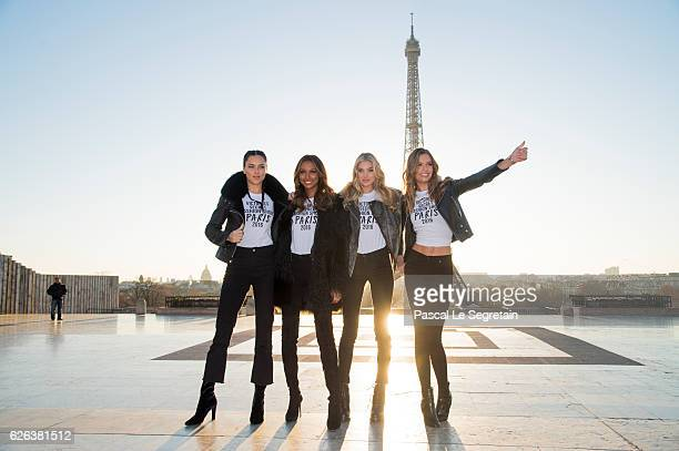 Adriana Lima Jasmine Tookes Elsa Hosk and Josephine Skriver attend a photocall for the Victoria's Secret Angels ahead of the annual fashion show at...