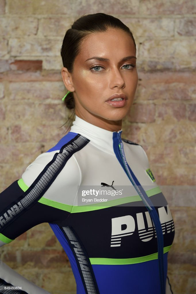 Adriana Lima poses backstage at the FENTY PUMA by Rihanna Spring/Summer 2018 Collection at Park Avenue Armory on September 10, 2017 in New York City.