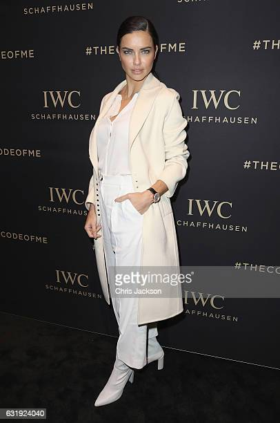 Adriana Lima visits the IWC booth during the launch of the Da Vinci Novelties from the Swiss luxury watch manufacturer IWC Schaffhausen at the Salon...