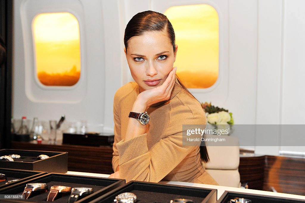 <a gi-track='captionPersonalityLinkClicked' href=/galleries/search?phrase=Adriana+Lima&family=editorial&specificpeople=182444 ng-click='$event.stopPropagation()'>Adriana Lima</a> visits the IWC booth during the launch of the Pilot's Watches Novelties from the Swiss luxury watch manufacturer IWC Schaffhausen at the Salon International de la Haute Horlogerie (SIHH) 2016 on January 19, 2016 in Geneva, Switzerland.