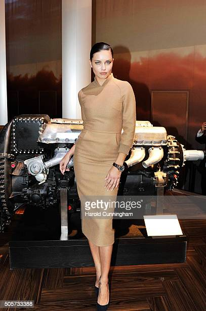 Adriana Lima visits the IWC booth during the launch of the Pilot's Watches Novelties from the Swiss luxury watch manufacturer IWC Schaffhausen at the...