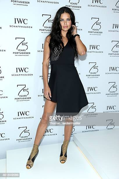 Adriana Lima visits the IWC booth during the Salon International de la Haute Horlogerie 2015 at the Palexpo on January 20 2015 in Geneva Switzerland