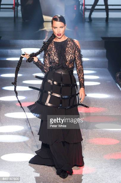 Adriana Lima walks the runway at the Philipp Plein fashion show during New York Fashion Week The Shows at Hammerstein Ballroom on September 9 2017 in...
