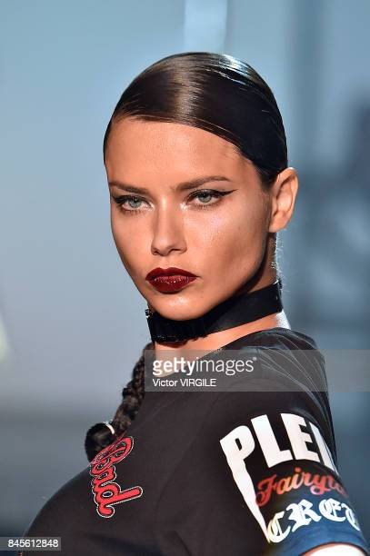 Adriana Lima walks the runway at the Philipp Plein Ready to Wear Spring/Summer 2018 fashion show during New York Fashion Week on September 9 2017 in...