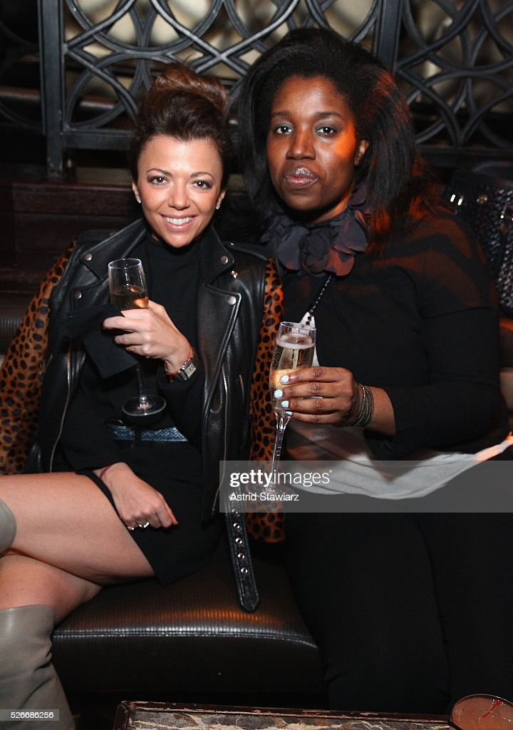 Adriana Martone and Shari Ajayi attend an exclusive event with DuJour's Jason Binn and Nicole Vecchiarelli to celebrate the 'Steven Tyler...Out On A Limb' charity show benefitting Janie's Fund at LAVO on April 30, 2016 in New York City.