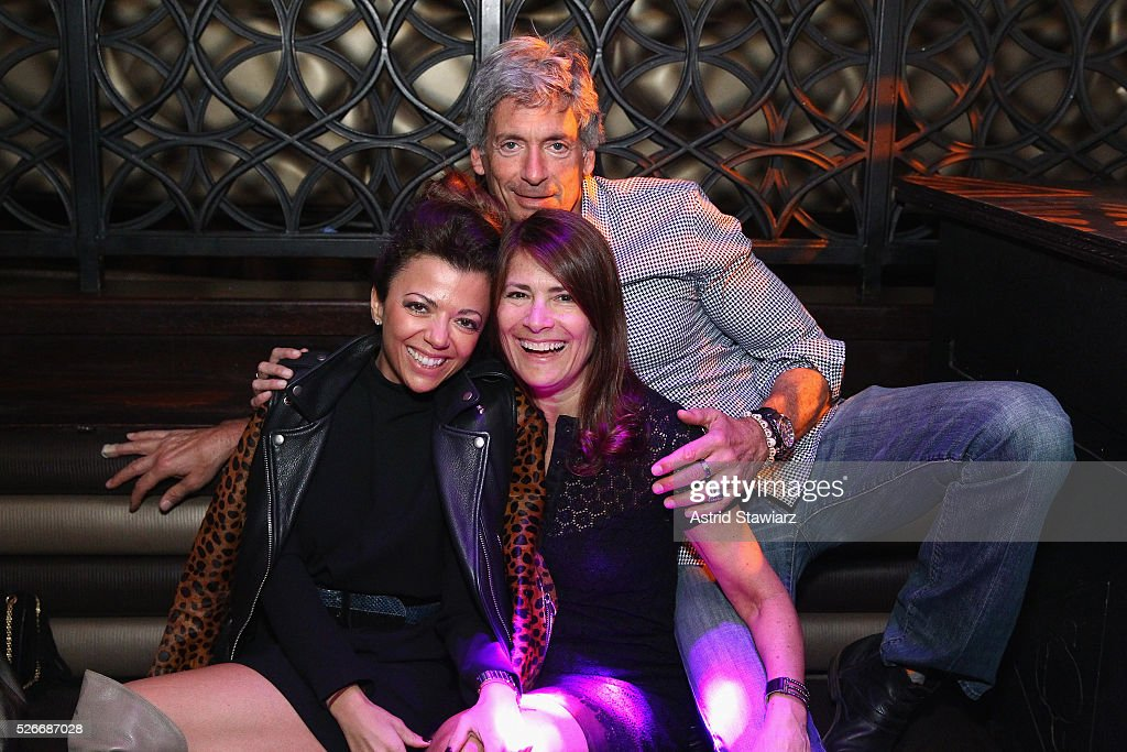 Adriana Martone, DuJour associate publisher Julie Arkin and Bobby Cohen attend an exclusive event with DuJour's Jason Binn and Nicole Vecchiarelli to celebrate the 'Steven Tyler...Out On A Limb' charity show benefitting Janie's Fund at LAVO on April 30, 2016 in New York City.
