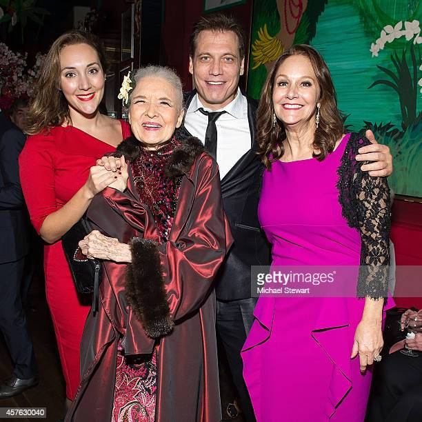 Adriana McPhee Julie Wilson and Holt McCallany attend Julie Wilson's 90th Birthday at Chez Josephina on October 21 2014 in New York City