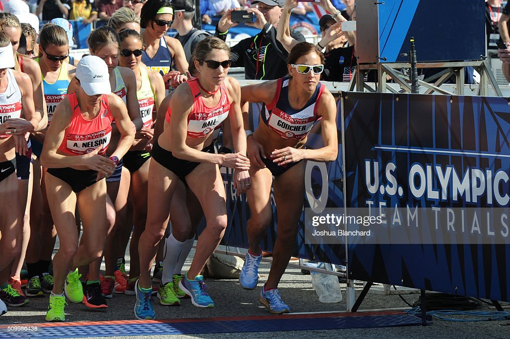 Adriana Nelson, Sara Hall and Kara Goucher at the start of the U.S. Olympic Team Trials Women's Marathon on February 13, 2016 in Los Angeles, California.
