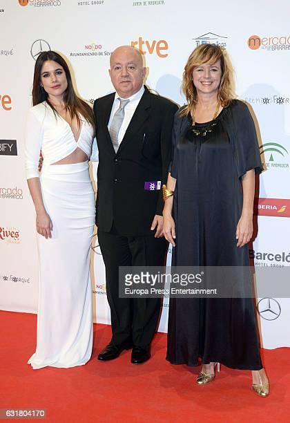 Adriana Ugarte Agustin Almodovar and Emma Suarez attend the Jose Maria Forque Awards 2016 at Teatro de la Maestranza on January 14 2017 in Seville...