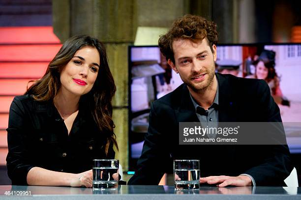Adriana Ugarte and Peter Vives attend 'El Hormiguero' Tv show at Vertice Studio on January 20 2014 in Madrid Spain