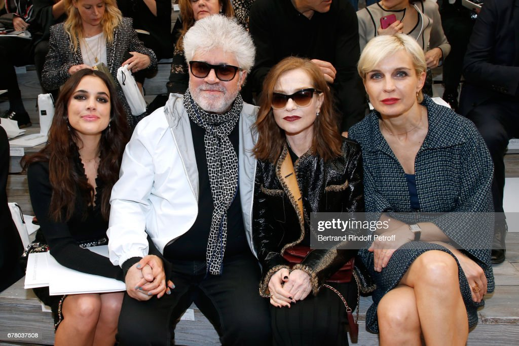Adriana Ugarte, Director Pedro Almodovar, Isabelle Huppert and melita Toscan du Plantier attend the Chanel Cruise 2017/2018 Collection Show at Grand Palais on May 3, 2017 in Paris, France.